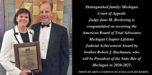 Judge Jane Beckering is given Lifetime Judicial Achievement Award by ABOTA